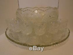 Vintage LE Smith Glass Slewed Horseshoe Punch Bowl Under Plate & 24 Cups Set