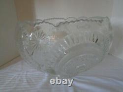 Vintage LE Smith Slewed Horseshoe Pinwheel & Stars Punch Bowl & 8 cups