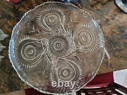 Vintage LE smith Crystal Punch/Serving bowl, platter on silver stand with 15