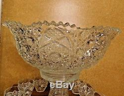 Vintage Large Glass Punch Bowl Set (Bowl, Stand, 12 Cups), 17 D X 14 TALL