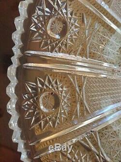 Vintage Lead Crystal Punch Bowl Stunning Saw-Tooth Large