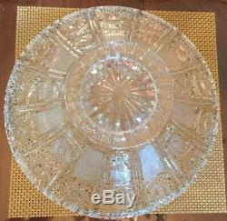 Vintage Lead Crystal Punch Bowl Stunning Saw-Tooth Large Crystal Bowl