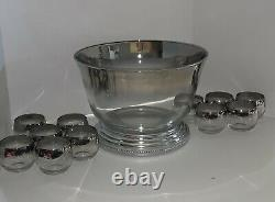 Vintage MCM Dorothy Thorpe Style Silver Punch Bowl Set with 11 Roly Poly Glasses