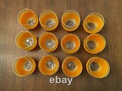 Vintage MCM Orange Blendo Roly Poly Bar Set Glasses Set of 12 with Punch Bowl