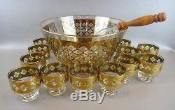 Vintage MID Century Culver Valencia Punch Bowl & 12 Glasses 22 Karat Gold