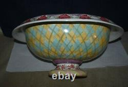 Vintage Mackenzie Childs Retired Large Pedestal Footed Punch Bowl 15 X 18 X 9