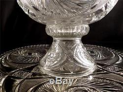 Vintage McKee Aztec Glass Punch Bowl/Stand/Underplate & 22 CupsSparkling Clear