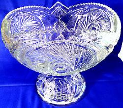 Vintage McKee Depression Glass Punch Bowl with Stand 12 Cups Aztec Pattern EAPG