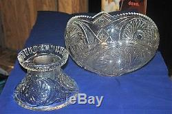 Vintage McKee Glass Pedestal Punch Bowl With 20 Cups in Aztec Pattern EAPG