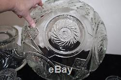 Vintage McKee Glass Punch Bowl with Stand 12 Cups, Ladel Aztec Pattern Orig. Box