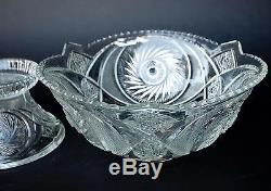 Vintage McKee Glass Punch Bowl with Stand 16 Cups Aztec Pattern