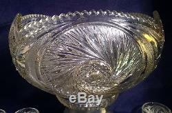 Vintage McKee /Smith Glass Punch Bowl with Stand 7 Cups Ladel Aztec Pattern