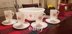 Vintage McKee Snowflake Christmas Winter Milk glass punch bowl set