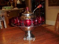 Vintage Mid Century 1950's Metal Punch Bowl With Bakelite And Ruby Red Glasses