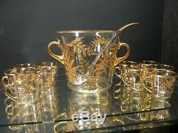 Vintage Mid Century Culver Gold Leaf 12 Pc Punchbowl Set withMatching Cups/Ladle