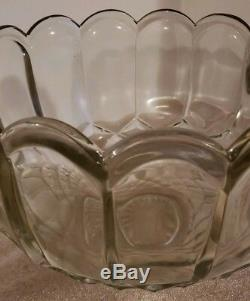 Vintage Mid Century L. E. Smith Clear Glass Dominion Punch Bowl Set 16 Cups