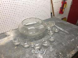 Vintage Mid-Century Modern Dorothy Thorpe Style Glass Punch Bowl and 12 Cups