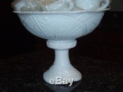 Vintage Milk Glass Conrad Early American Punch Bowl Set with12 Cups withBase