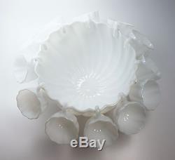 Vintage Milk Glass Punch Bowl + 12 Hanging Cups Hobnail Base Lovely