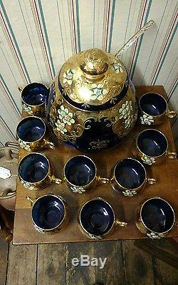 Vintage Murano Italian Italy gold 24-k punch bowl Blue Glass 13 piece