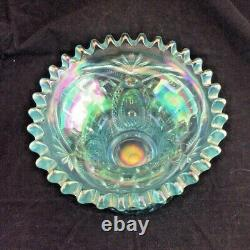 Vintage NORTHWOOD Carnival Glass ICE BLUE Memphis Punch Bowl Base Only