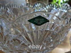 Vintage NOS Shannon Crystal Punch Bowl With 8 Cups