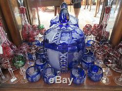 Vintage Nachtmann Blue Cut Crystal Punch Bowl & Cups (12) PERFECT