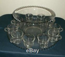 Vintage Period Imperial Candlewick Punch Bowl, Under-plate & 10 Cups SHIPS FRE