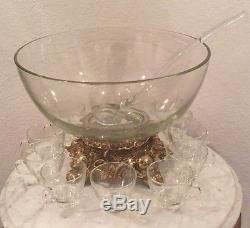 Vintage Pitman-Dreitzer 14 Pieces Crystal Punch Set. Bowl, 11 Cups, Ladle, Stand
