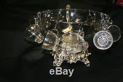 Vintage Pitman Dreitzer Glass Punch Bowl with 11 cups