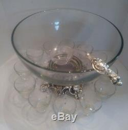 Vintage Pitman-Dreitzer Glass punch bowl, silver base with Cups, hooks and Ladle