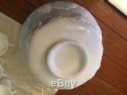 Vintage Pitman Dreitzer Milk Glass Punch Bowl & 12 Glasses Set