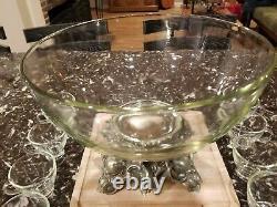 Vintage Pitman-Dreitzer Punch Bowl Set with Ladle & 12 glass Cups