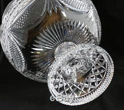 Vintage Possibly Waterford Cut Glass Crystal Centerpiece Footed Punch Bowl