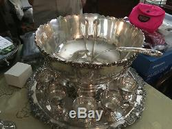 Vintage Punch Bowl Set 10 cups, Baroque Wallace Silver Plate