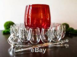 Vintage Punch Bowl Set Ruby Red Blown Glass 12 Glasses Ladle And Stirring Stick