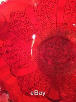 Vintage RUBY RED PUNCH BOWL LE SMITH DAISEY PANEL RED, RUBY, WITH CUPS NICE