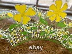 Vintage Rare MCM Culver Punch Bowl & 12 Glass White Picket Fence Daisies Yellow