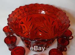 Vintage Red Wild Rose Punch Bowl and 7 Punch Cups No Base
