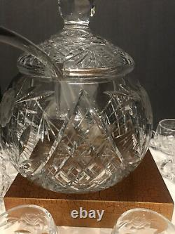 Vintage Round Crystal Punch Bowl With12 Cups