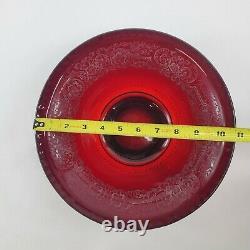 Vintage Ruby Red Punch Bowl & Candlestick Set- Paden City Ornate Floral Pattern