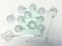 Vintage Set Heisey Glass Large Punch Bowl Pedestal Cups Ladles Serving Used