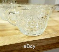 Vintage Smith Daisy Hob Star Patterned Cut Glass Punch Bowl Set Stand Ladle Cups