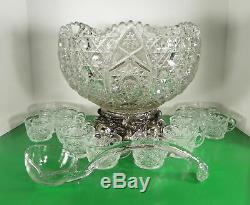 Vintage Smith Glass DAISY AND BUTTON Punch Bowl Set with Metal Stand and 12 Cups