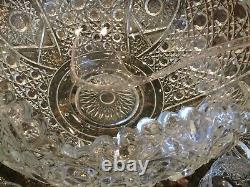 Vintage Smith Glass Daisy and Button Clear Punch Set (Bowl, Ladle, 18 cups)