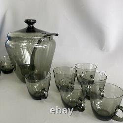 Vintage Smoky Glass Lidded Punch Bowl Set, Ladle, 10 Glass Cups Mid Century MCM
