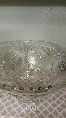 Vintage Star of David Crystal Punch Bowl Set with 11 cups Ladle