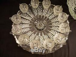 Vintage Tiffin Glass Co. Crystal Punch Bowl Set Bristol Diamond Pattern