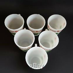 Vintage Tom & Jerry Egg Nog Punch Bowl Set Hazel Atlas Milk Glass 6 Cups Holiday