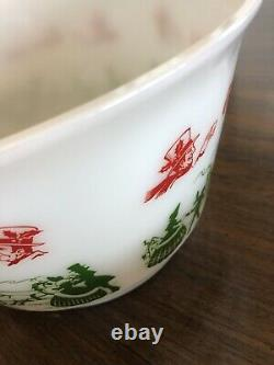 Vintage Tom and Jerry Holiday Christmas Milk Glass Punch Bowl Set with 9 Cups